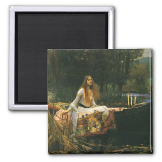 The Lady of Shalott On Boat by JW Waterhouse 2 Inch Square Magnet