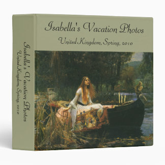 The Lady of Shalott On Boat by JW Waterhouse 3 Ring Binder