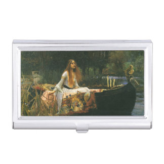 The Lady of Shalott On Boat by JW Waterhouse Business Card Holder