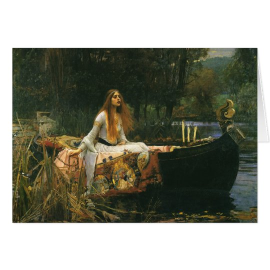 The Lady of Shalott On Boat by JW Waterhouse Card
