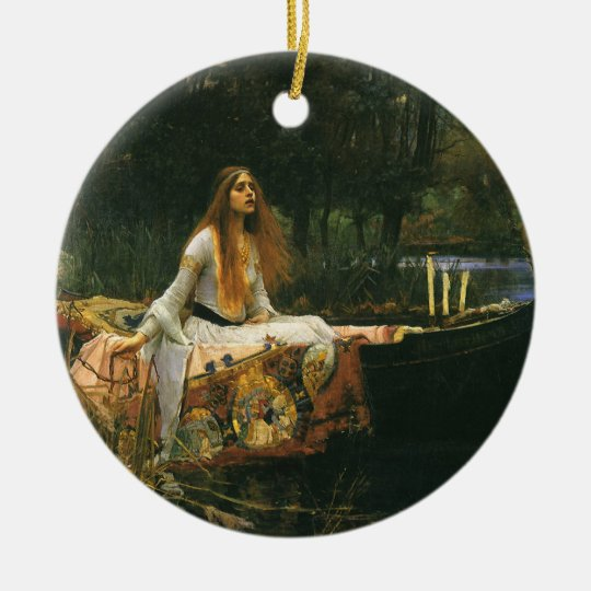 The Lady of Shalott On Boat by JW Waterhouse Ceramic Ornament