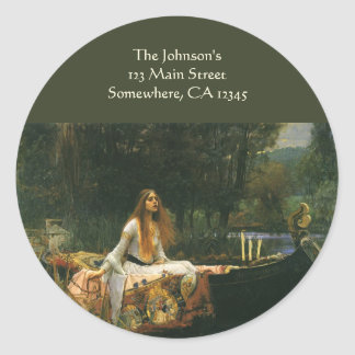 The Lady of Shalott On Boat by JW Waterhouse Classic Round Sticker