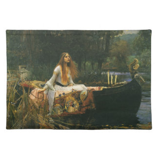 The Lady of Shalott On Boat by JW Waterhouse Cloth Place Mat