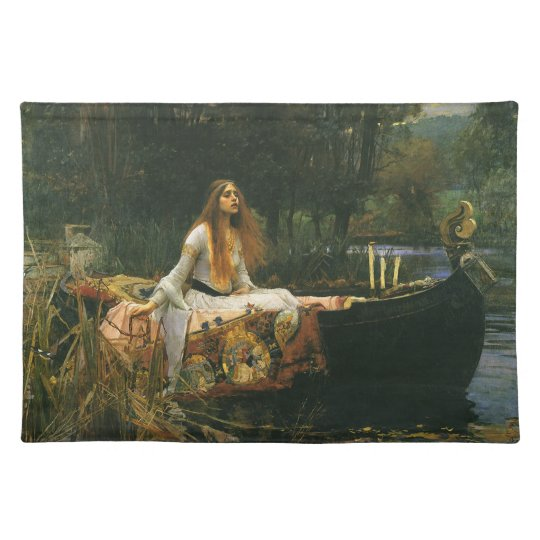 The Lady of Shalott On Boat by JW Waterhouse Cloth Placemat