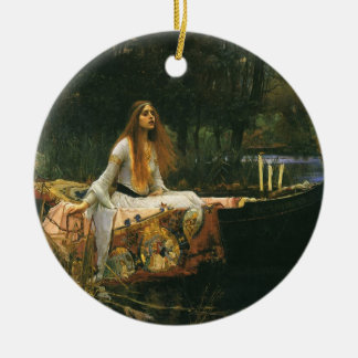 The Lady of Shalott On Boat by JW Waterhouse Double-Sided Ceramic Round Christmas Ornament
