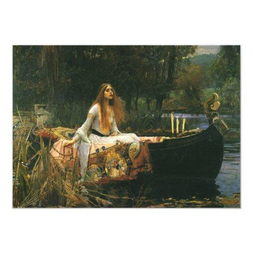 "The Lady of Shalott (On Boat) by JW Waterhouse 5"" X 7"" Invitation Card"