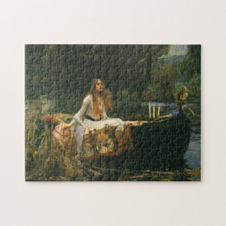 The Lady of Shalott On Boat by JW Waterhouse Jigsaw Puzzle