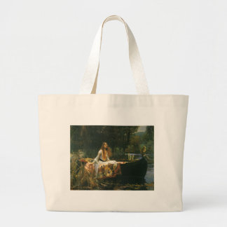 The Lady of Shalott On Boat by JW Waterhouse Large Tote Bag