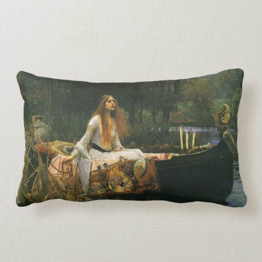 The Lady of Shalott On Boat by JW Waterhouse Lumbar Pillow