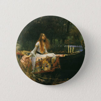 The Lady of Shalott On Boat by JW Waterhouse Pinback Button
