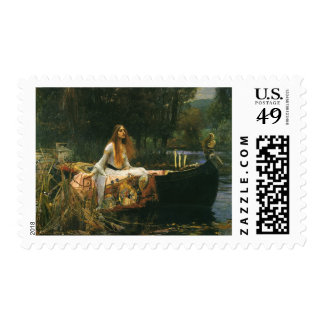 The Lady of Shalott On Boat by JW Waterhouse Postage