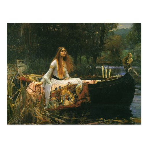 The Lady of Shalott On Boat by JW Waterhouse Postcard