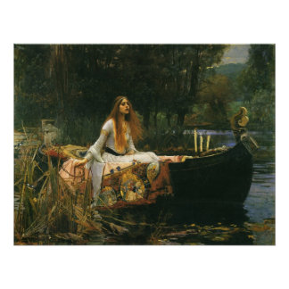 The Lady of Shalott On Boat by JW Waterhouse Poster