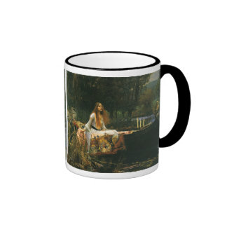 The Lady of Shalott On Boat by JW Waterhouse Ringer Coffee Mug