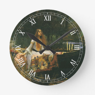 The Lady of Shalott On Boat by JW Waterhouse Round Clock