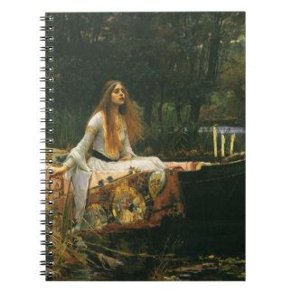 The Lady of Shalott On Boat by JW Waterhouse Spiral Notebook