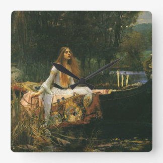 The Lady of Shalott On Boat by JW Waterhouse Square Wallclocks