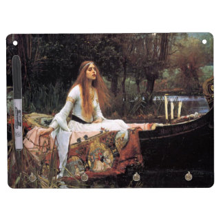The lady of shalott painting dry erase board with keychain holder