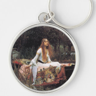 The lady of shalott painting Silver-Colored round keychain