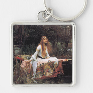 The lady of shalott painting Silver-Colored square keychain