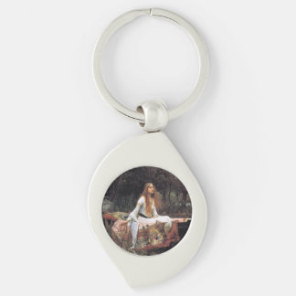 The lady of shalott painting Silver-Colored swirl metal keychain