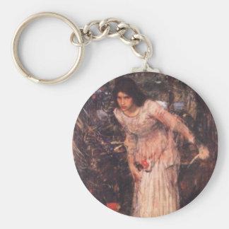 The Lady of Shalott (study) Basic Round Button Keychain
