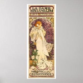 The Lady of the Camellias vintage Art Nouveau Poster
