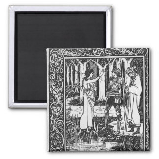 The Lady of the Lake telleth Arthur 2 Inch Square Magnet