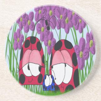 The Ladybug Family Sandstone Drink Coaster