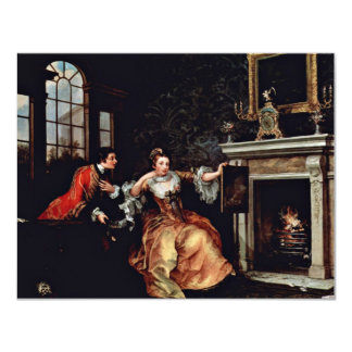 """The Lady'S Last Stake.,  By Hogarth, William 4.25"""" X 5.5"""" Invitation Card"""