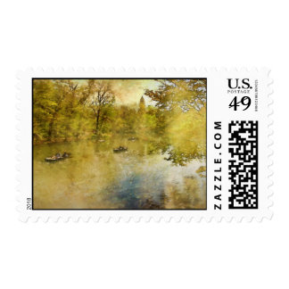 The Lake, Central Park NYC Painting Postage