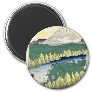 The Lake in Hakone 2 Inch Round Magnet