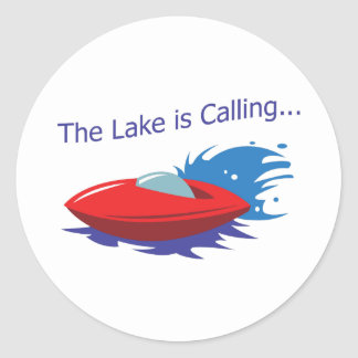 THE LAKE IS CALLING ROUND STICKERS