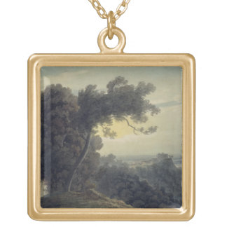 The Lake of Albano and Castle Gandolfo, c.1783-85 Gold Plated Necklace