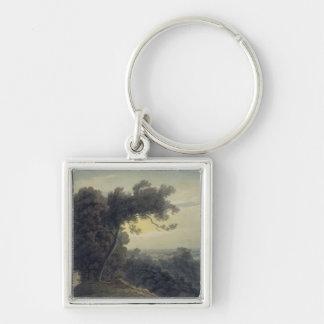 The Lake of Albano and Castle Gandolfo, c.1783-85 Silver-Colored Square Keychain