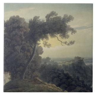 The Lake of Albano and Castle Gandolfo, c.1783-85 Tile