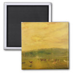 The Lake, Petworth: Sunset, Fighting Bucks 2 Inch Square Magnet