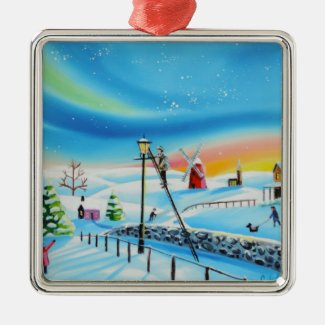 The lamp lighter winter snow scene Gordon Bruce Metal Ornament