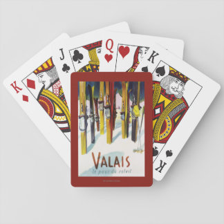 The Land of Sunshine - Skis Standing in Snow Playing Cards