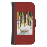 The Land of Sunshine - Skis Standing in Snow Galaxy S4 Wallet Case