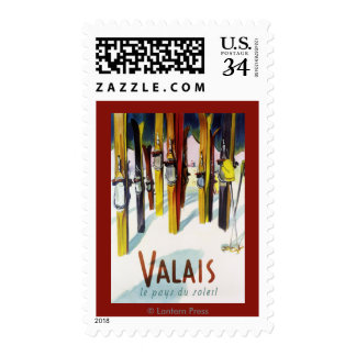The Land of Sunshine - Skis Standing in Snow Postage Stamp