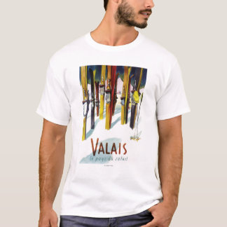 The Land of Sunshine - Skis Standing in Snow T-Shirt