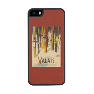 The Land of Sunshine - Skis Standing in Snow Carved® Maple iPhone 5 Case