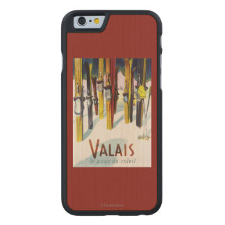 The Land of Sunshine - Skis Standing in Snow Carved® Maple iPhone 6 Slim Case