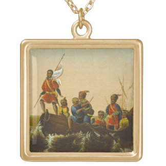 The Landing of Columbus, c.1837 (oil on canvas) Square Pendant Necklace
