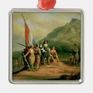 The Landing of Jan van Riebeeck Square Metal Christmas Ornament