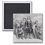 The Landing of the Pilgrims 2 Inch Square Magnet