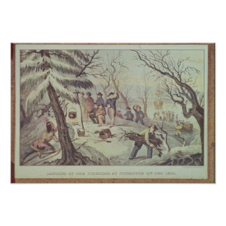 The Landing of the Pilgrims at Plymouth Print
