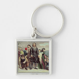 The Landing of the Pilgrims at Plymouth Silver-Colored Square Keychain