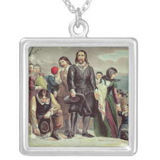 The Landing of the Pilgrims at Plymouth Silver Plated Necklace